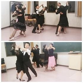 3組でワルツルーティンの踊りこみをしている写真です。