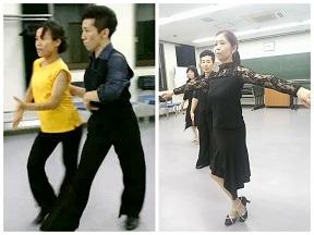 ラテンの動き練習風景とサークル競技会に向けてバリエーションを踊ってる様子です。
